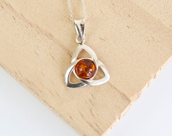Personalised Amber Celtic Triquetra Necklace * Celtic Knot * Celtic Jewelry * Cross Necklace * Silver Love Knot * Celtic Wedding * Celtic