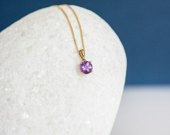 Solid 9ct Yellow Gold February Birthstone Amethyst Pendant Necklace