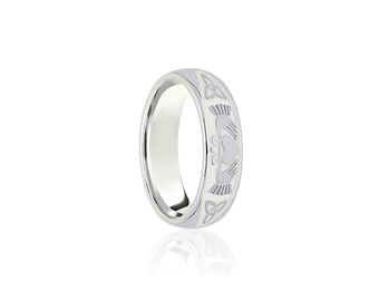 9ct White Gold Ring for Women or Men * Celtic Gold Wedding Band * 8mm 7mm 6mm 5mm