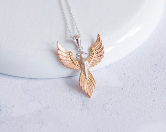 Sterling Silver and 18ct Rose Gold Rising Phoenix Pendant Necklace for Men or Women - Fantasy and Mythology