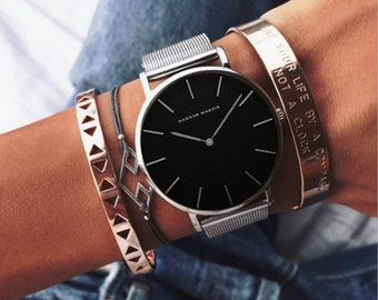 Personalised Silver Watch with Black Dial