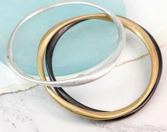 Personalised Stacking Bangle * Yellow Gold * Silver * Hematite * Stacker Bracelet * Dainty * Minimalist * Personalised Gift * Slim Skinny