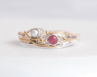 Sterling Silver White Freshwater Pearl and Pink Ruby Ring for Women * Personalized With Up To 40 Characters * Organic Gemstone Ring *