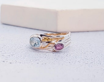 Personalized Sterling Silver Organic Ring with Blue Topaz and Purple Amethyst Gemstones on a Silver Band with Detailing