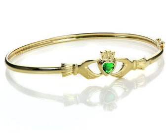Personalized Solid 9ct Gold Claddagh Bracelet for Women * Dainty Celtic Heritage Design