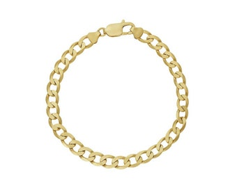 6in or 7in Solid 9ct Yellow Gold Curb Bracelet Chain for Men or Women -  3mm - Can be Personalized