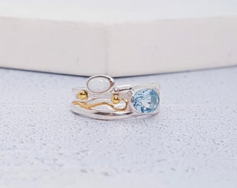 UK L Sterling Silver Sky Blue Topaz and White Opal Ring for Women * Personalized With Up To 40 Characters * Organic Gemstone Ring *