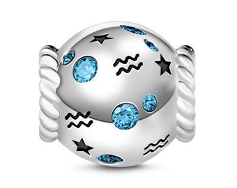 Aquarius Zodiac Charm Bead * Sterling Silver * 4.5mm Inner Diameter * Fits most European Charm Bracelets