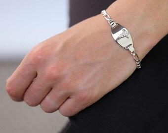 7.5in Personalized Sterling Silver Medical I D Figaro Bracelet for Men or Women
