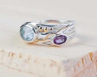 Sterling Silver Sky Blue Topaz and Purple Amethyst Ring for Women * Personalized With Up To 40 Characters * Organic Gemstone Ring *