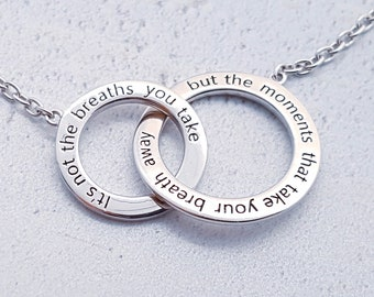 Sterling Silver Inspirational Necklace for Women or Girls * Two Circles of Love Pendant Jewelry Design