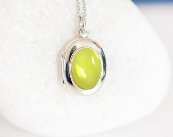 Personalised Sterling Silver Lemon Quartz Gemstone Locket Pendant Necklace