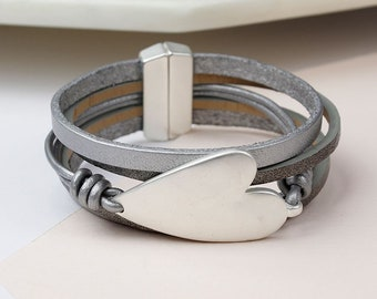 Personalised Grey Leather Silver Plated Heart Bracelet