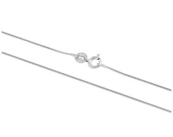 0.6mm Solid 9ct White Gold Box Chain for Women or Girls - 18 20 22 inches
