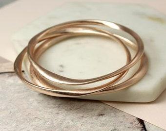 Personalised Stacking Bangle * Rose Gold * Stacker Bracelet * Dainty * Minimalist * Personalised Gift * Slim Skinny Jewelry *