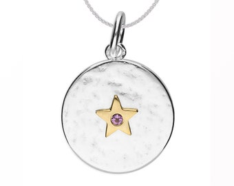 Personalized Sterling Silver and 18ct Gold Star June Birthstone Pendant Necklace with Cubic Zirconia Alexandrite Gemstone