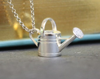 Sterling Silver Watering Can Necklace for Women * Personalized with 40 Characters * Gardening Jewelry Gift for Gardener