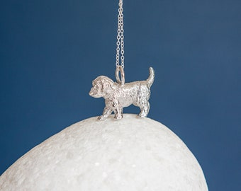 Sterling Silver Standing Cockapoo Dog Pendant Necklace