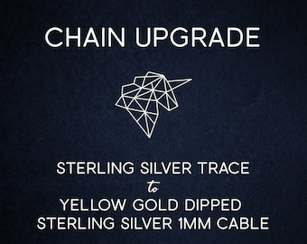 Chain Upgrade 1mm Cable Chain * 16 18 20 24 inches * Trace Chain * 9ct Yellow Gold Dipped Sterling Silver, Best for Men, Women, Girls, Boys