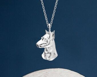 Personalised Sterling Silver Doberman Dog Pendant Necklace