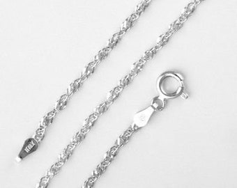 1mm Singapore Chain * 16 18 20 22 24 inches * Sterling Silver