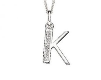 18mm Initial Pendant Necklace * Sterling Silver * Art Deco * Personalised * K
