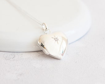 Raven * Heart Locket Necklace * Sterling Silver * Remembrance Jewelry * Picture Locket Gift * Working Locket * Hair Locket Pendant *