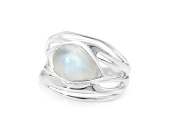 Personalized Sterling Silver Organic Statement Moonstone Gemstone Openwork Ring