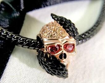 Skull with Angel Wings Charm Bead * Sterling Silver * 4.5mm Inner Diameter * Fits most European Charm Bracelets
