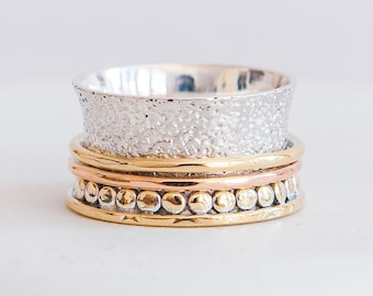 Sterling Silver Spinner Ring for Women * Personalized With Up To 10 Characters * Wide Band * Custom Thumb Ring * 14ct Gold Vermeil *