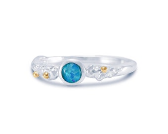 Sterling Silver Blue Opal Ring for Women * Personalized With Up To 40 Characters * Organic Gemstone Ring *