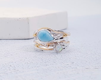 Personalized Sterling Silver Blue Larimar and White Opal Gemstone Ring for Women - October Birthstone