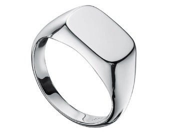 Sterling Silver Signet Ring for Men or Women with Free Personalized Engraving