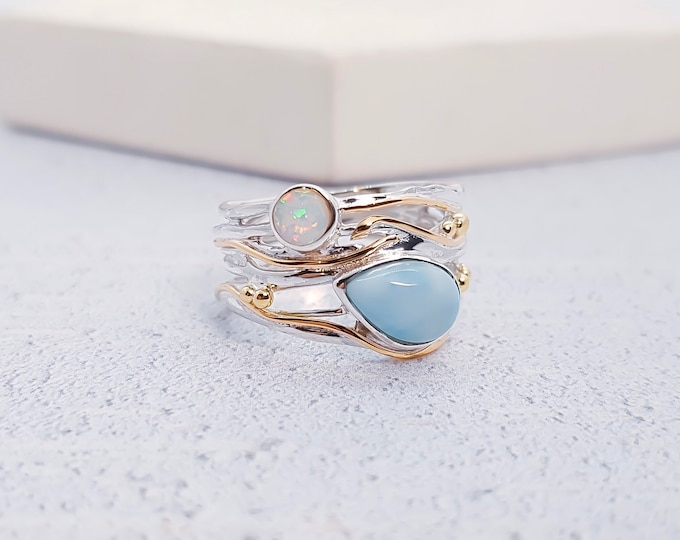Featured listing image: Sterling Silver Blue Larimar and White Opal Ring for Women * Personalized With Up To 40 Characters * Organic Gemstone Ring *