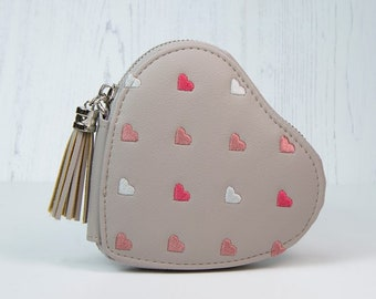 Personalised Taupe-Grey Faux Leather Coin Purse with Embroidered Hearts