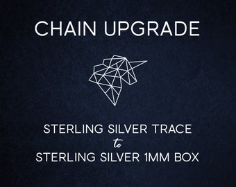 Chain Upgrade 1mm Box Chain * 16 18 20 22 inches * Solid Sterling Silver * Best for Women, Girls