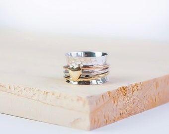 Sterling Silver Spinner Ring for Women * Personalized With Up To 10 Characters * Wide Band * Custom Thumb Ring * Heart Design *