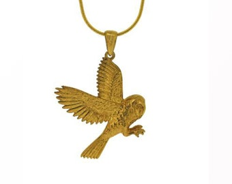 18ct Yellow Gold Dipped Flying Owl Pendant Necklace