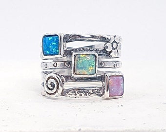 Opal Ring with Pink, Green and Blue Opals