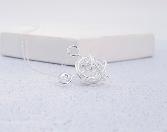Personalized Sterling Silver Wool Ball Necklace for Women * Knitting Yarn Jewelry Gift for Seamstress