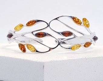 Personalised Baltic Amber Bracelet * Sterling Silver * Celtic Torc Bracelet * Amber Bangle * Amber Woodland Jewelry * Leaf Bracelet * Gift
