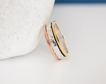 UK O | 7US | EU55 Sterling Silver Mixed Metal Spinner Ring