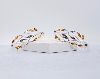 Sterling Silver and Amber Cuff Bracelet for Women * Baltic Amber Gemstone Leaf Bracelet * Nature Design *