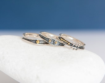Trio of Oxidized Sterling Silver Stacking Rings