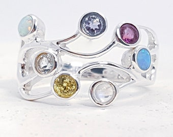 UK Q Moonstone, Opal, Amethyst, Iolite, Peridot, Topaz Ring * Sterling Silver * Rustic Organic Jewelry * Unique Womens Engagement Ring