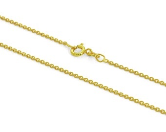 1mm Cable Chain * 16 18 20 24 inches * Trace Chain * Yellow Gold Dipped Sterling Silver