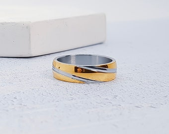Yellow Gold Two Tone Stainless Steel Ring for Men or Women