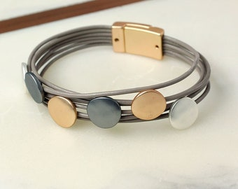 Personalised Taupe Leather Layered Bracelet With Mixed Metallic Discs