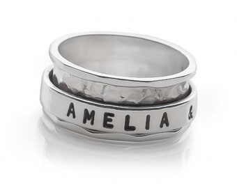 Sterling Silver Spinner Ring for Women * Personalized With Up To 18 Characters * Wide Hammered Band * Custom Thumb Ring
