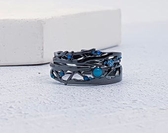 Sterling Silver Cubic Zirconia Twig Ring Set for Women * Blue Gemstone Twig Stacking Ring Set